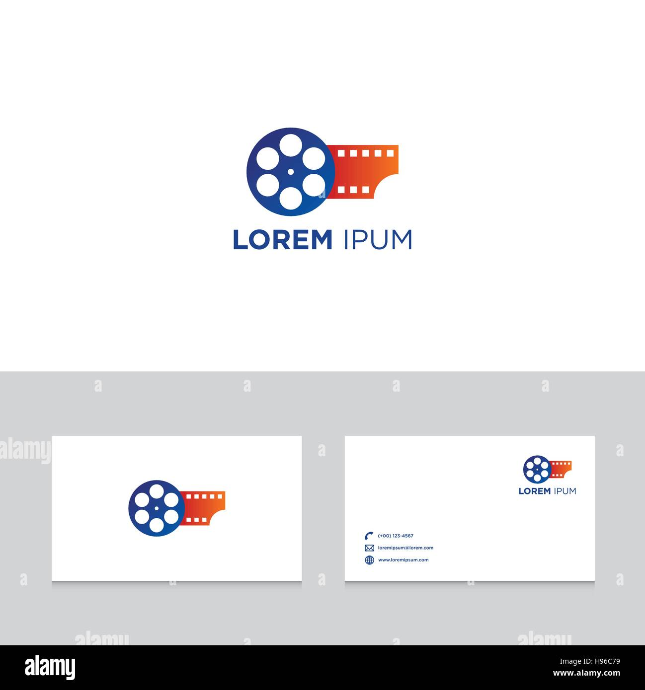 Logo design elements with business card template, film movie reel ...