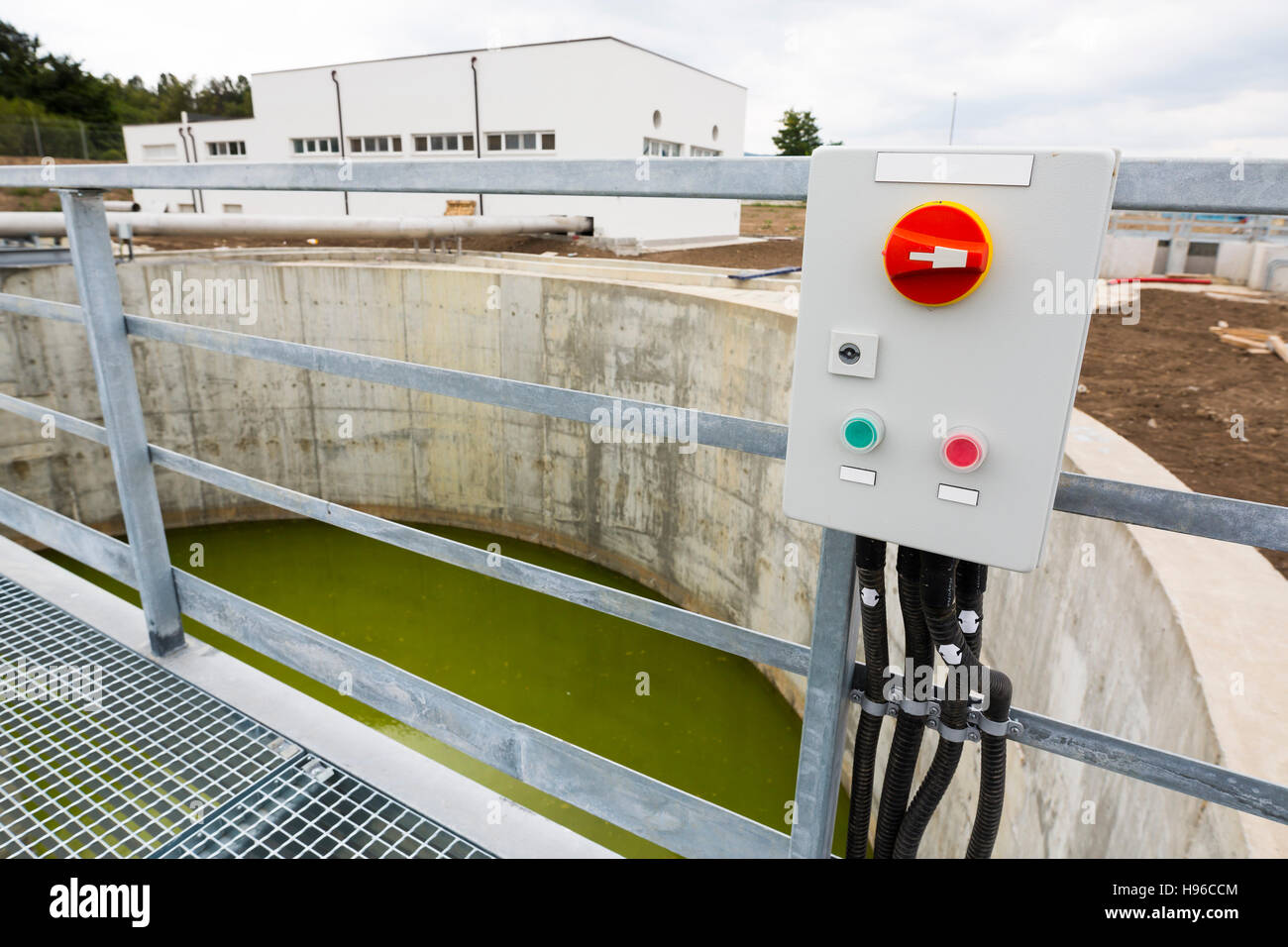 Water treatment plant switchboard. Modern urban wastewater treatment plant. Water purification is the process of - Stock Image