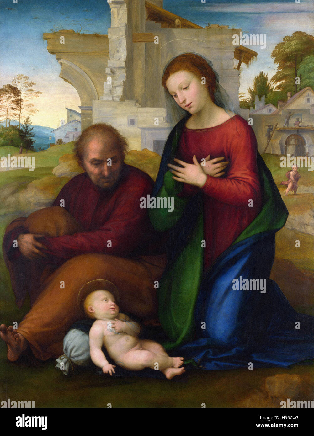 Fra Bartolommeo -   The Virgin adoring the Child with Saint Joseph  -  1511 - Stock Photo