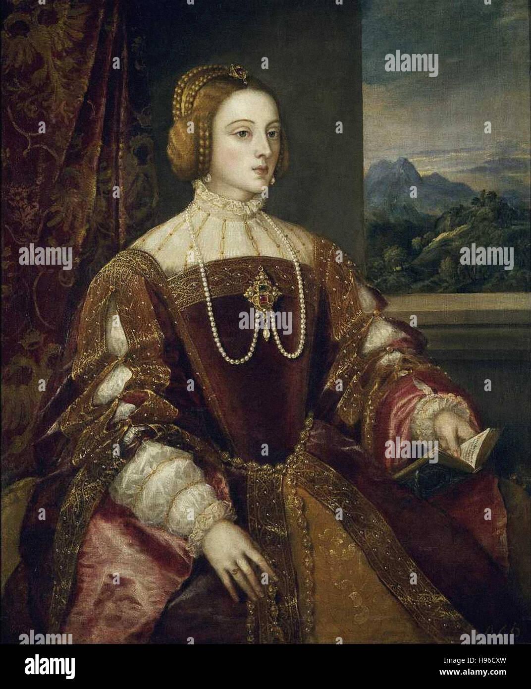 Tiziano Vecellio - Le Titien  - The empress Isabelle of  Portugal - 1548 - - Stock Image