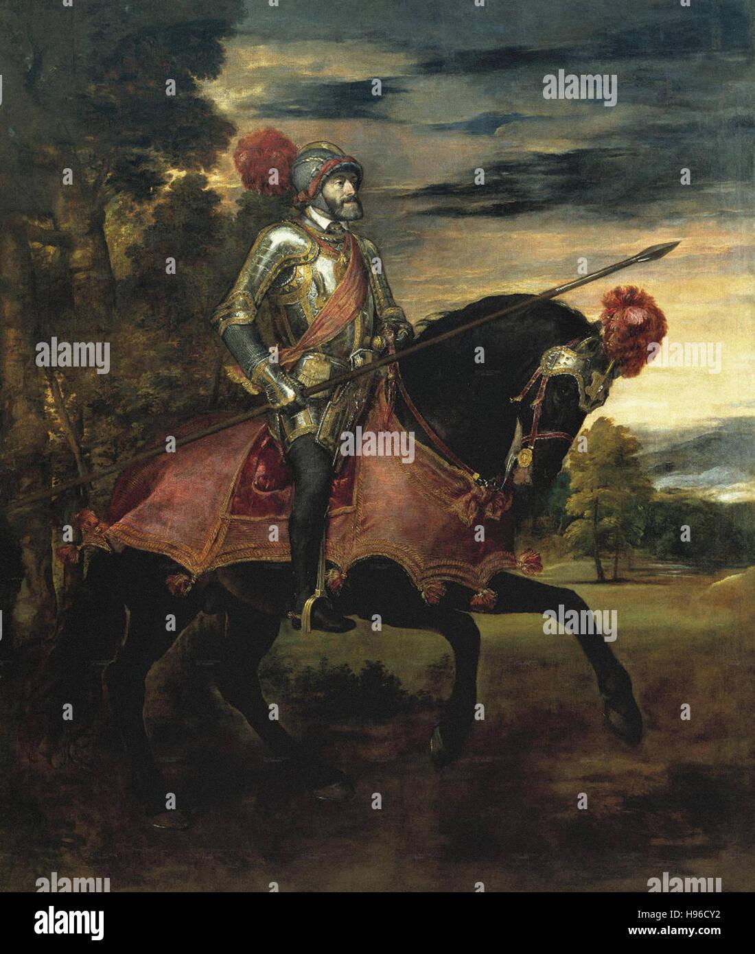 Tiziano Vecellio - Le Titien  - The Emperor Carlos V on horseback in Mühlberg - - Stock Image