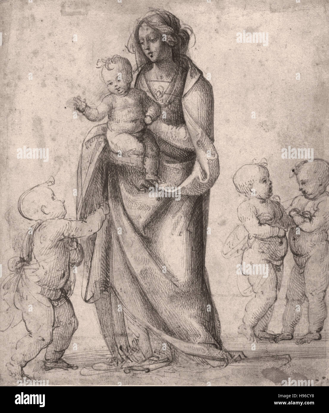 Fra Bartolommeo -  Madonna and Child with the Infant Saint John the Baptist and Two Putti Stock Photo