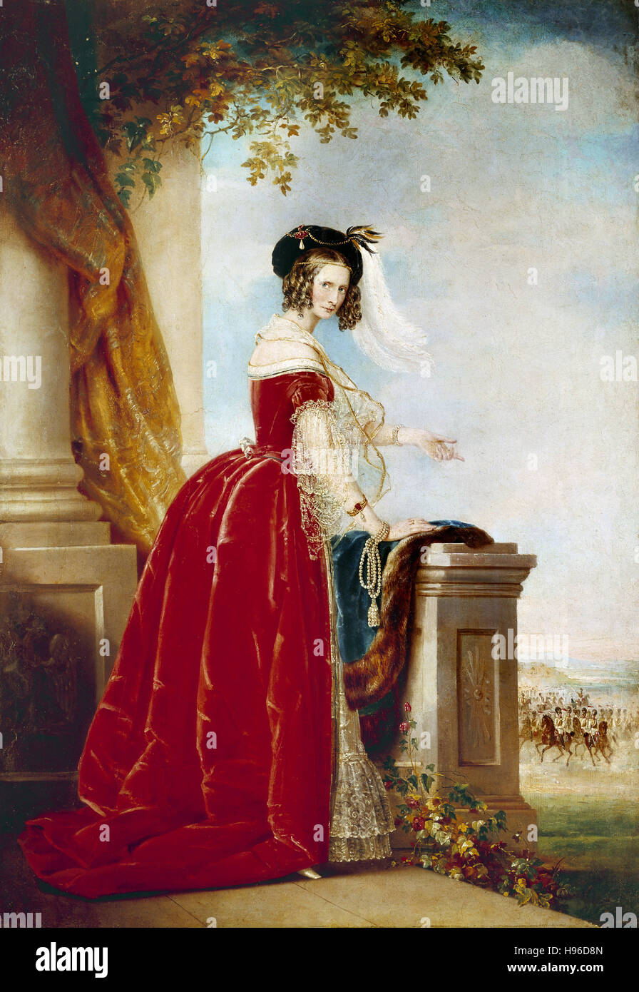 Full-lenght portrait of Empress Alexandra Feodorovna of Russia, wife of Emperor Nicholas I of Russia. - Stock Image