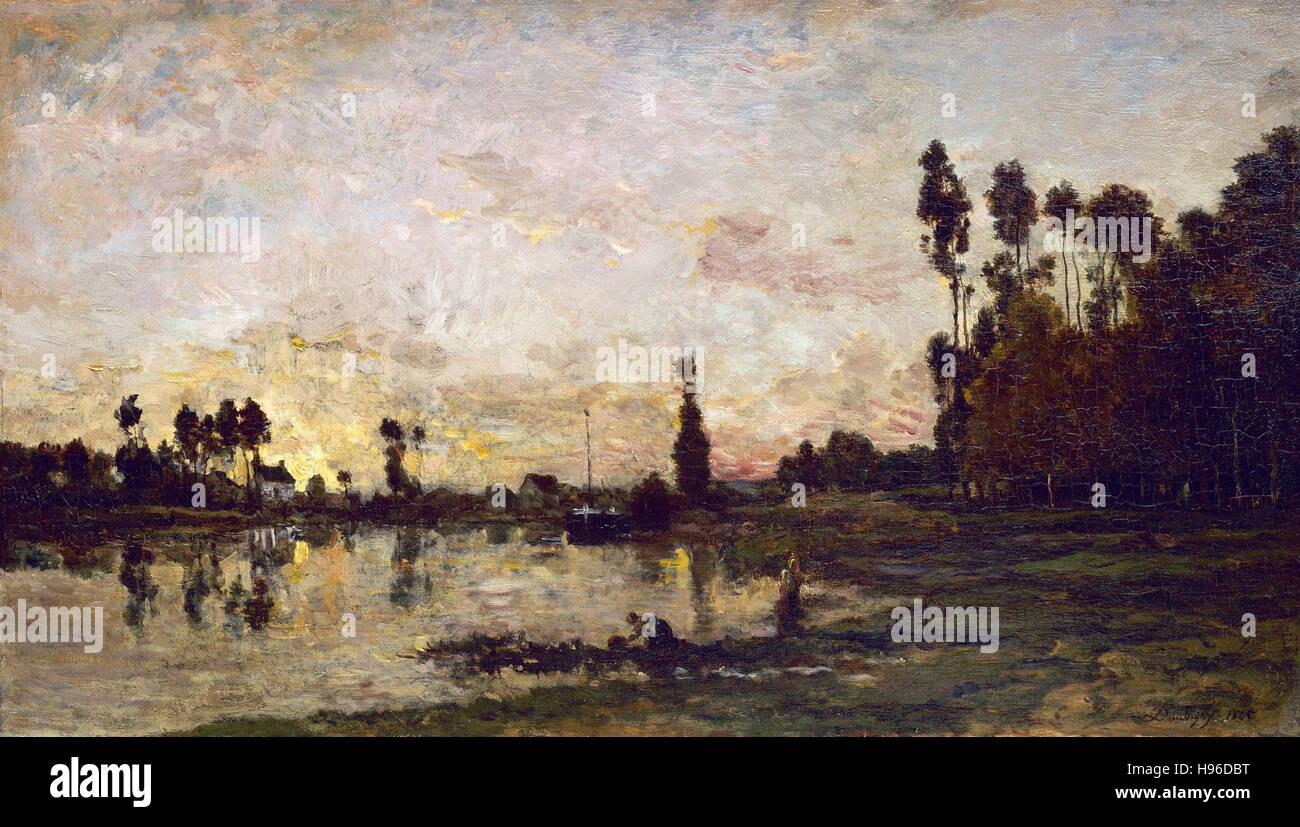 Charles François Daubigny -  Sunset Over the Oise 1865 - Stock Image