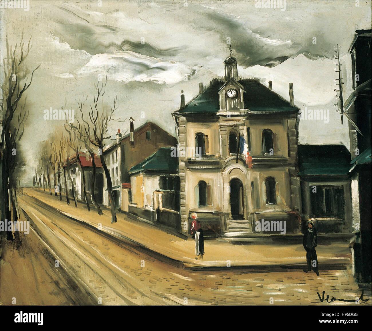 MAURICE DE VLAMINCK - Place de la Mairie -  1919 - Stock Image