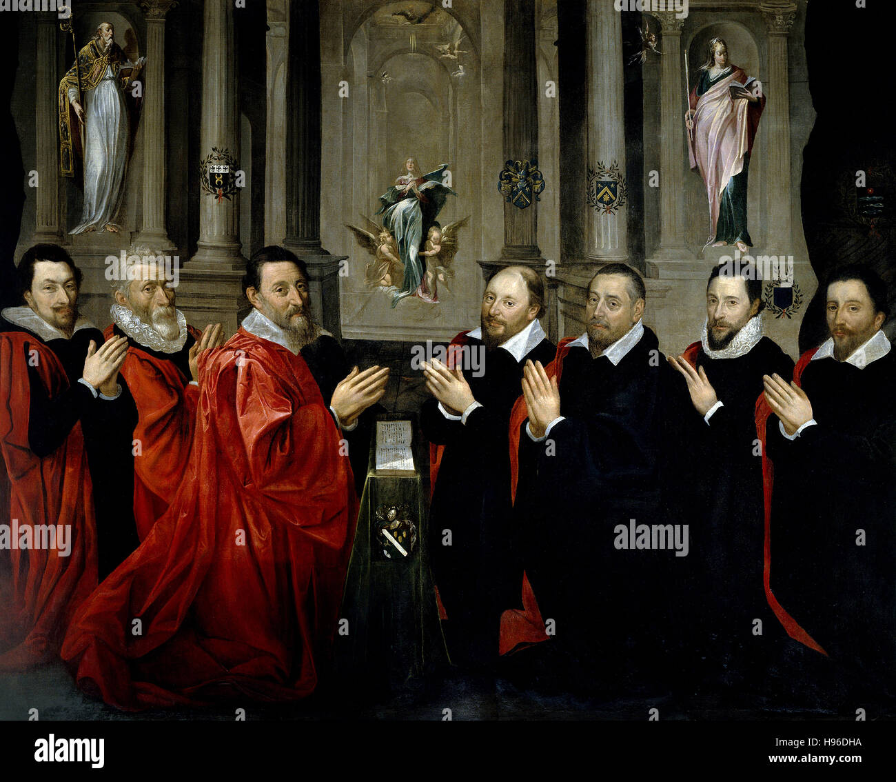 Georges Lallemand  -   The provost of merchants and the bureau de la ville de Paris in 1611  1611  - Stock Photo