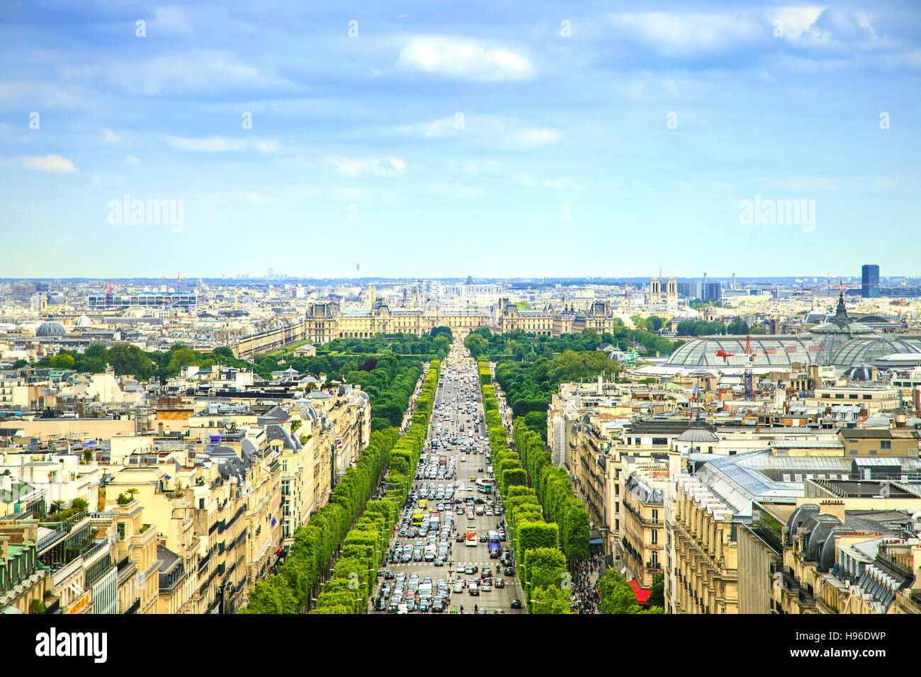 Paris, panoramic aerial view of Champs Elysees boulevard. France, Europe. - Stock Image