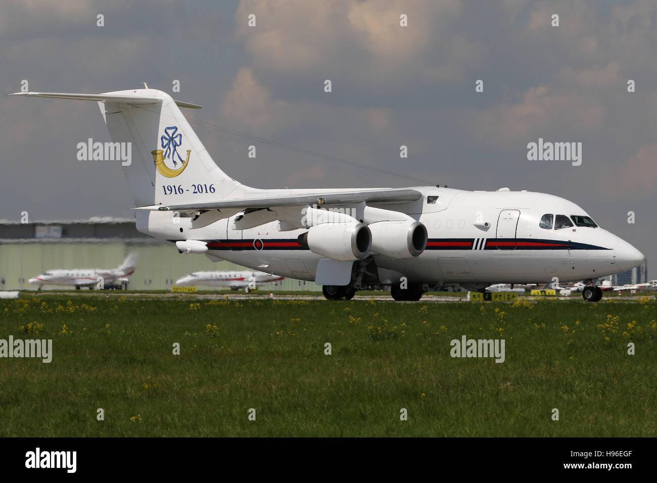 Stuttgart, Germany – May 04, 2016: English Government BAE Avro at Stuttgart Airport Stock Photo