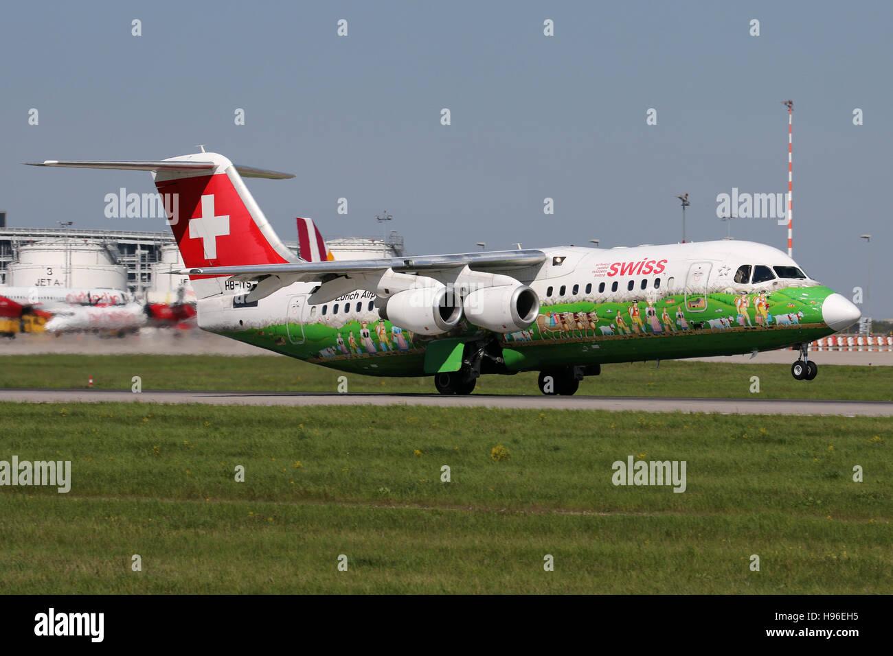 Stuttgart, Germany – May 05, 2016: Swiss International Airlines, BAE Avro at Stuttgart Airport - Stock Image