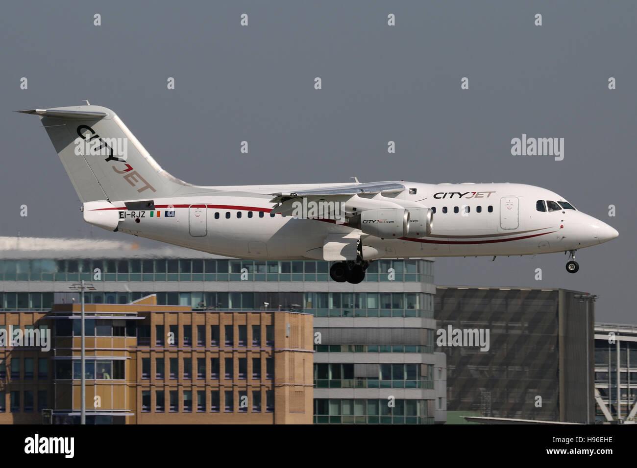 Stuttgart, Germany – May 07, 2016: Cityjet, BAE Avro is landing at Stuttgart Airport - Stock Image