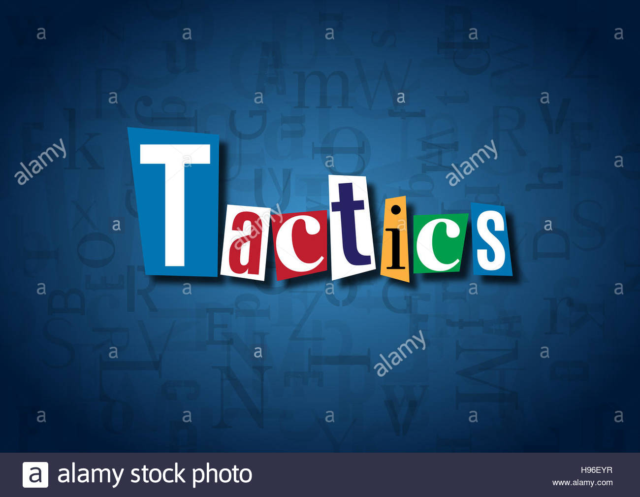 The word Tactics made from cutout letters on a blue background - Stock Image