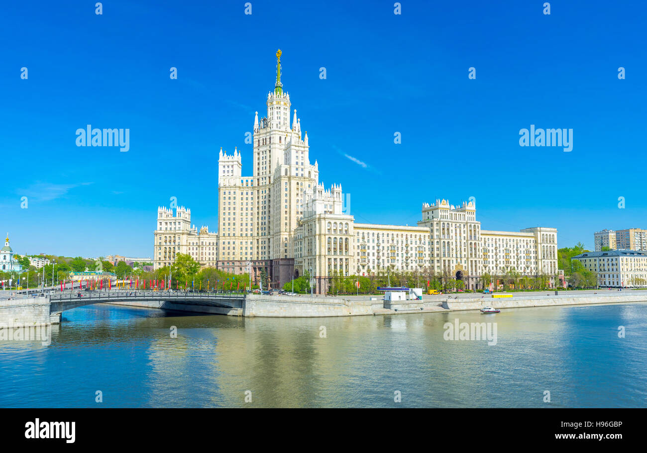 Kotelnicheskaya Embankment Building is one of seven Stalinist skyscrapers, Moscow, Russia - Stock Image