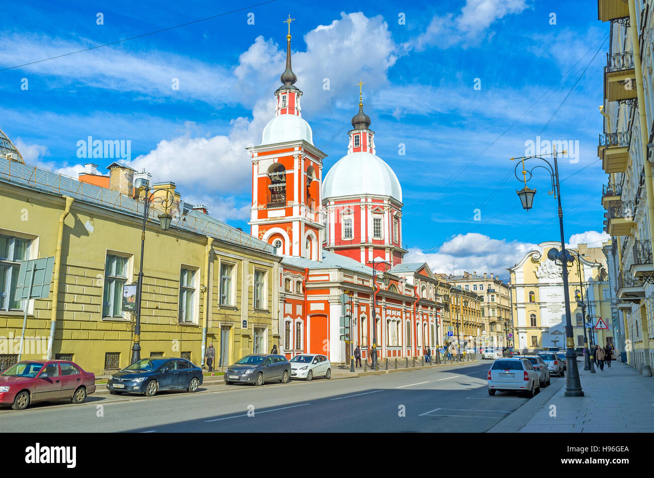 The Church of Great Martyr and Healer St. Panteleimon, is sandwiched between old mansions in Pestel street - Stock Image