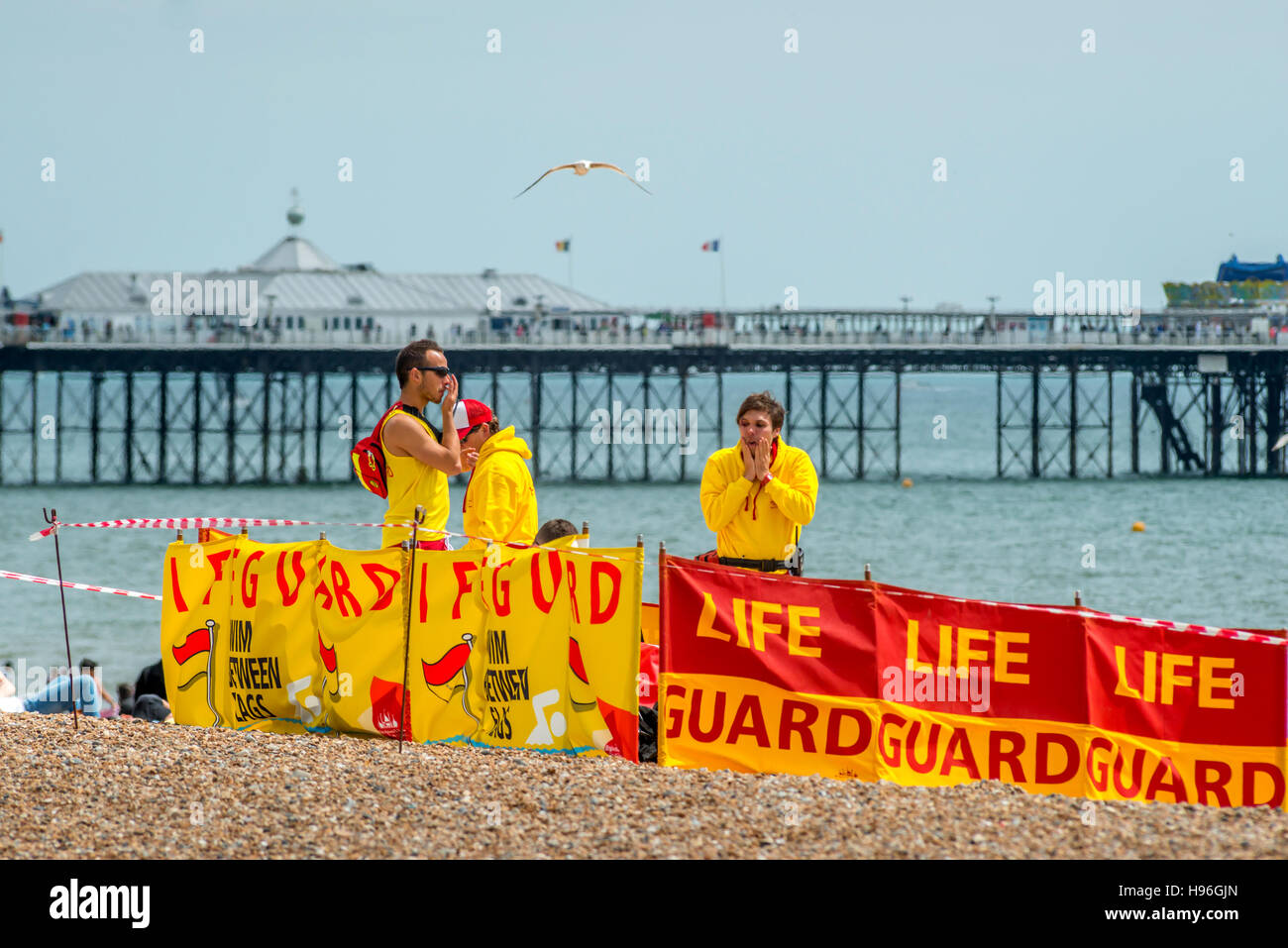 Lifeguards on Brighton Beach - Stock Image