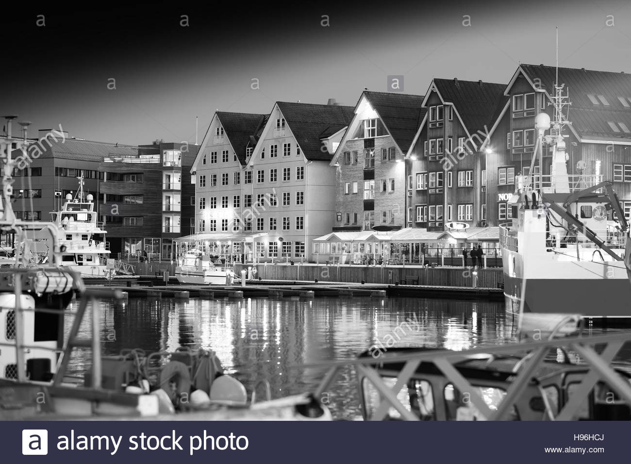 Night Tromso Black And White Postcard Background Hd Stock Photo