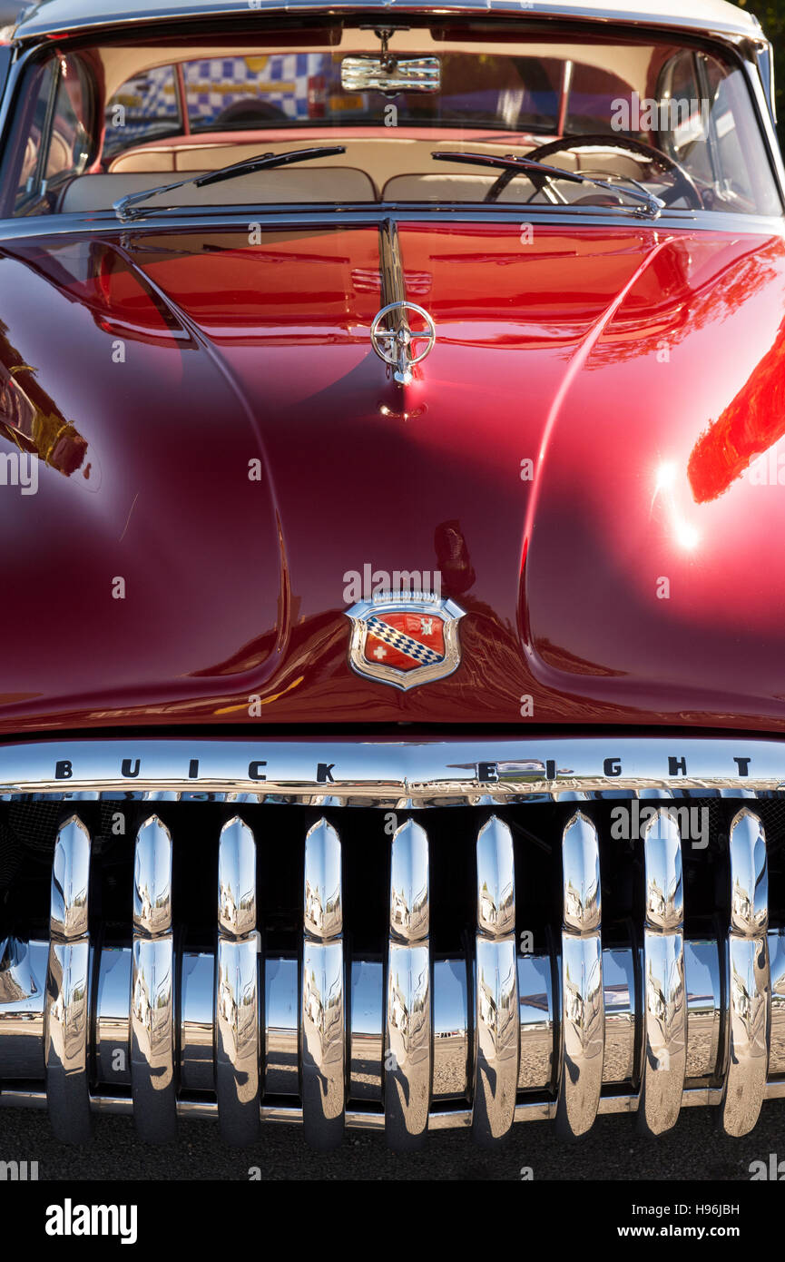 Red 1950 Buick Super 8. Classic American fifties car - Stock Image