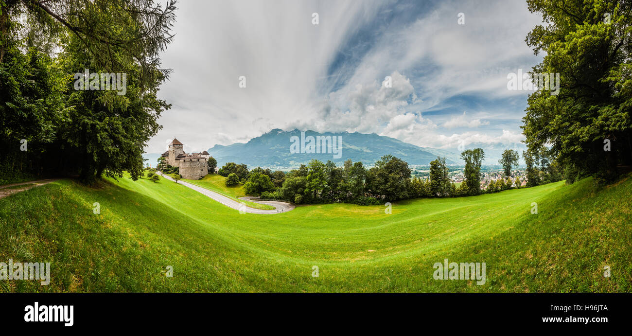 Vaduz castle, city and the Alps in a panorama shot Stock Photo