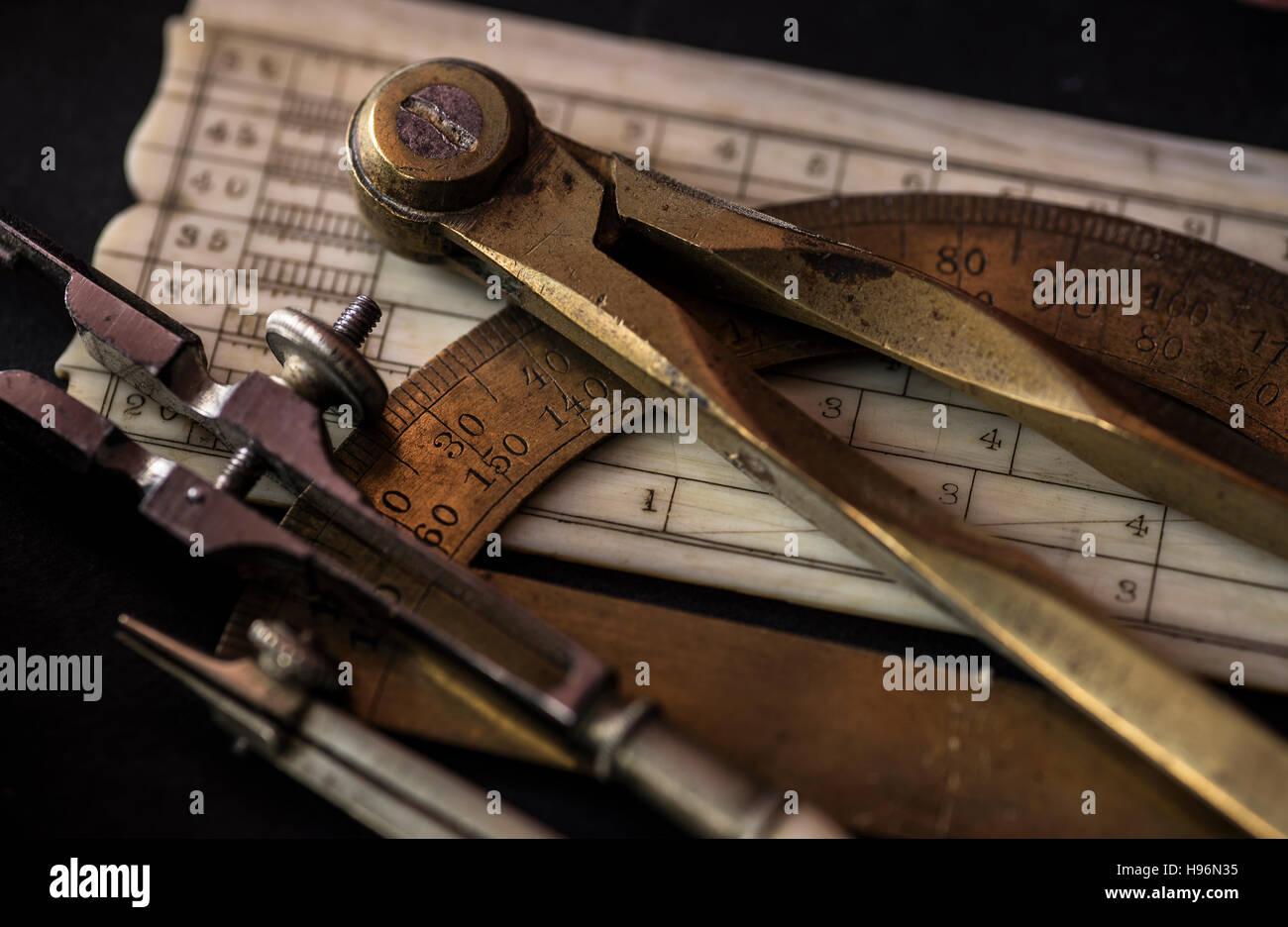 Studio shot of antique instruments of measurement - Stock Image