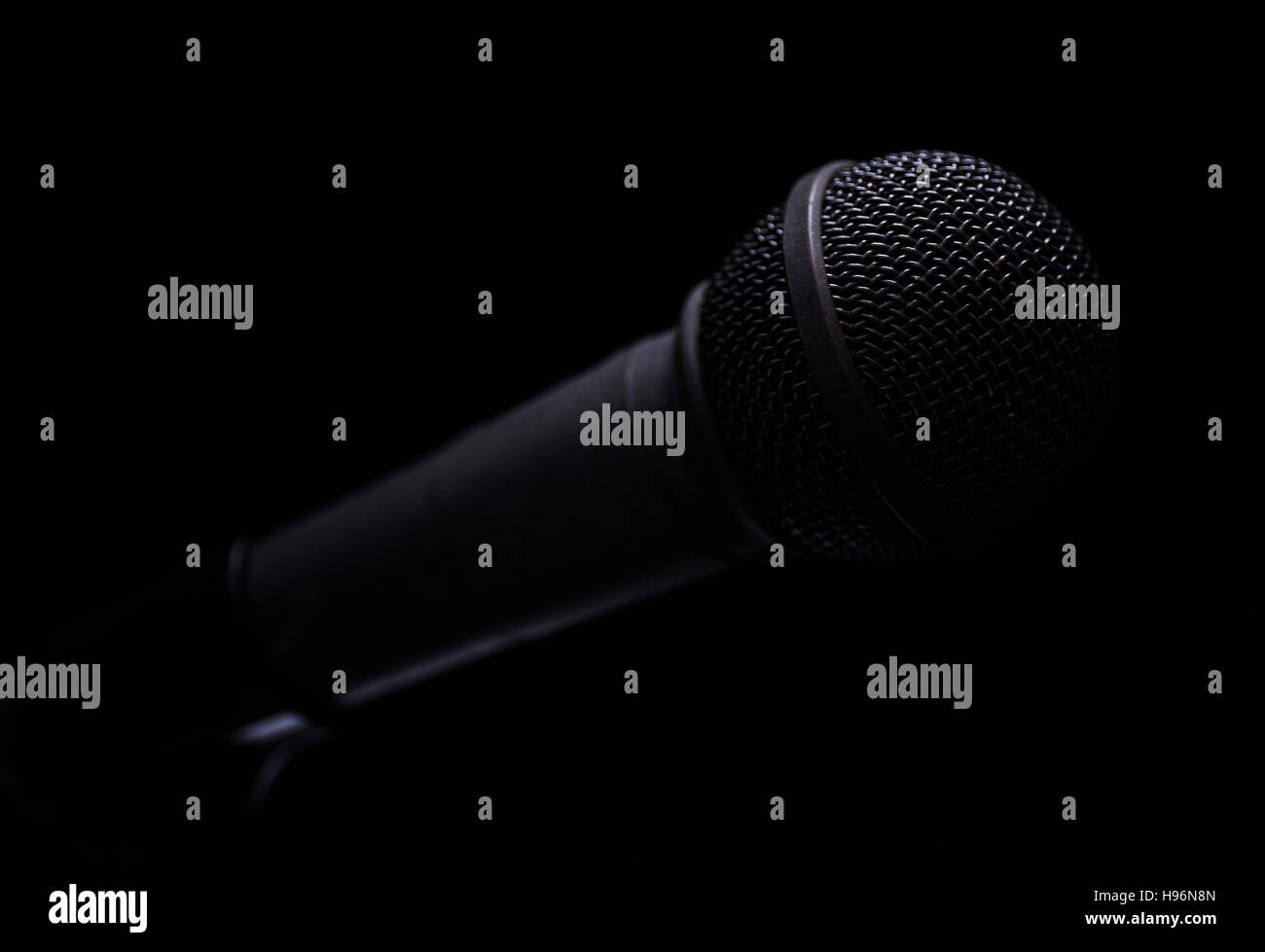 Retro styled black microphone - Stock Image