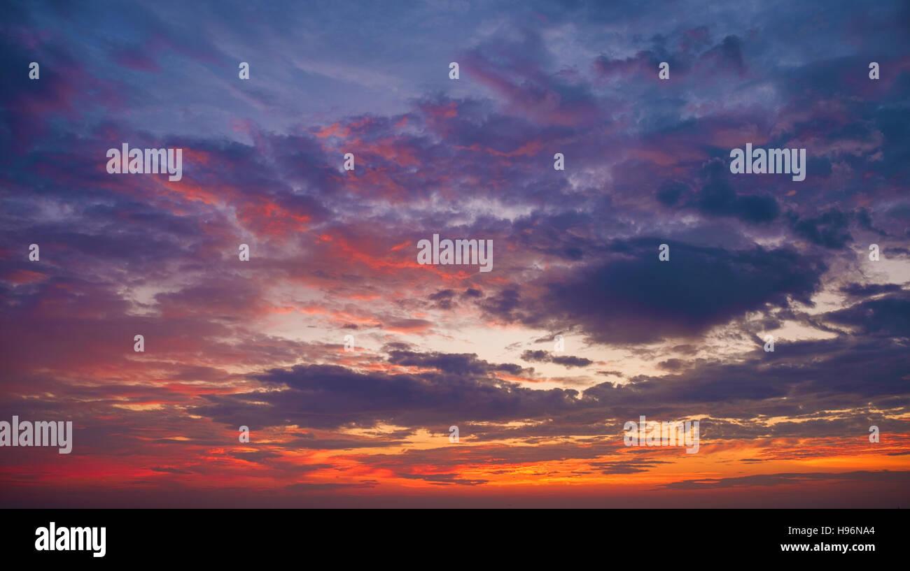 Multi colored dramatic sky - Stock Image