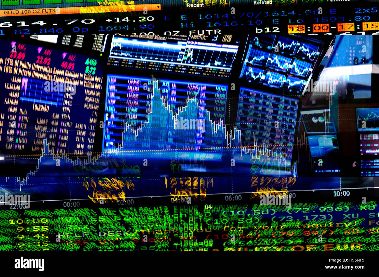 Financial figures on screens - Stock Image