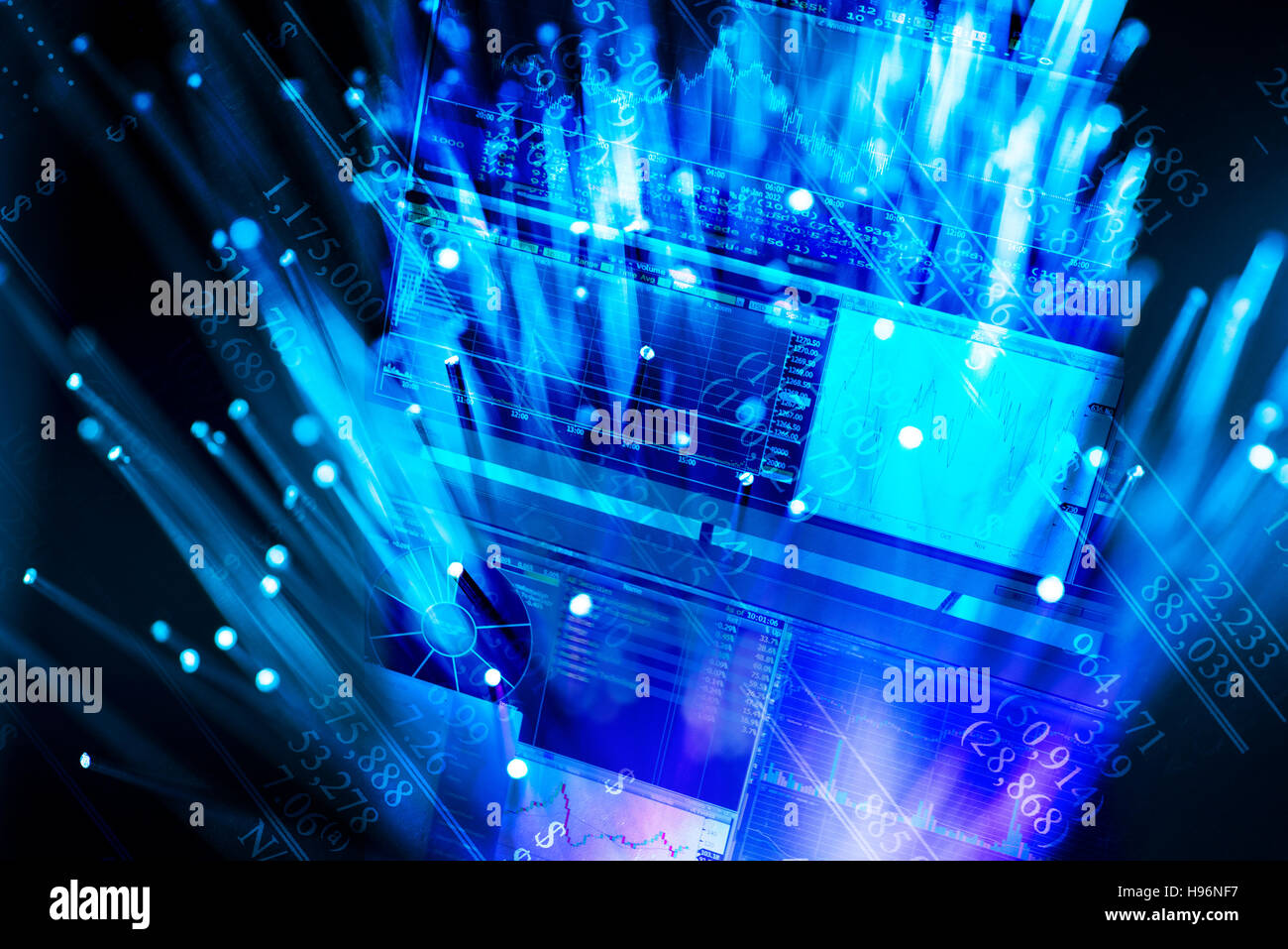 Hologram of blue screens - Stock Image