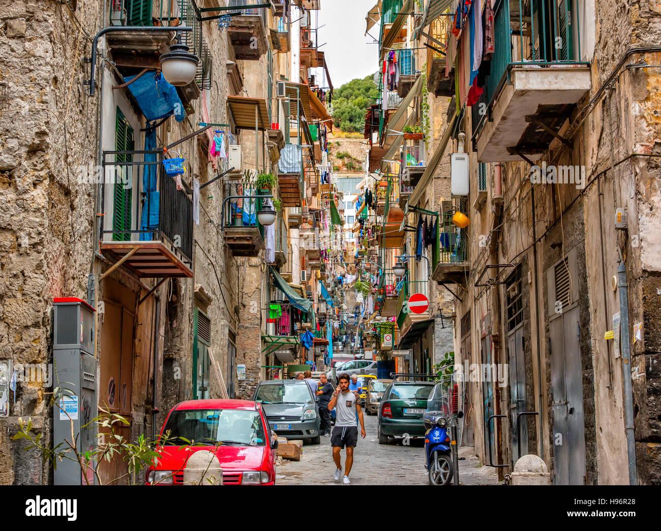 Street scene in Quartieri Spagnoli, Naples, Italy - Stock Image