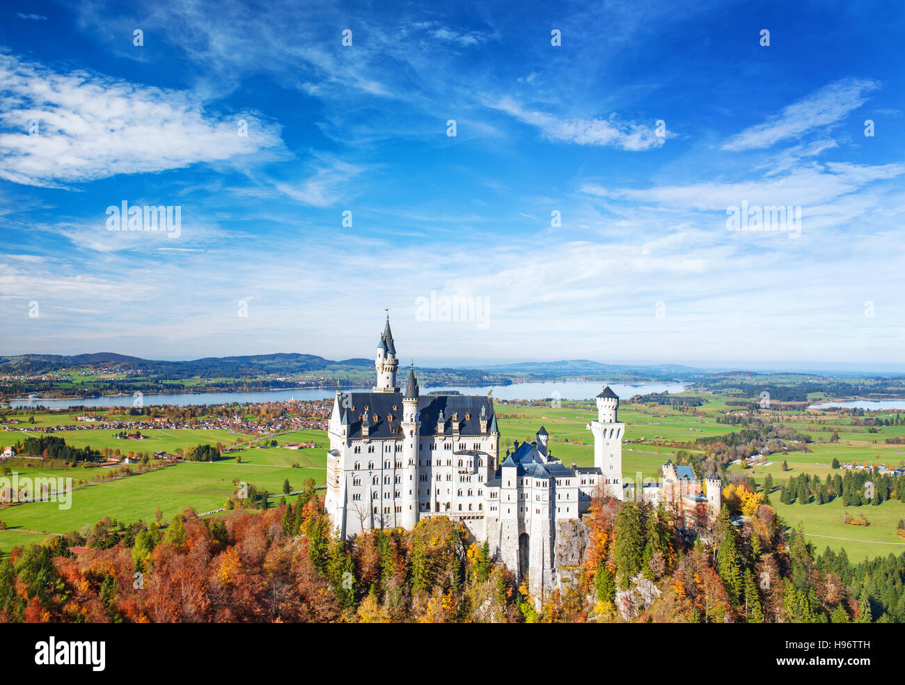 Neuschwanstein Castle in autumn. Landmark of Germany and Bavaria. Beautiful german landscape - Stock Image