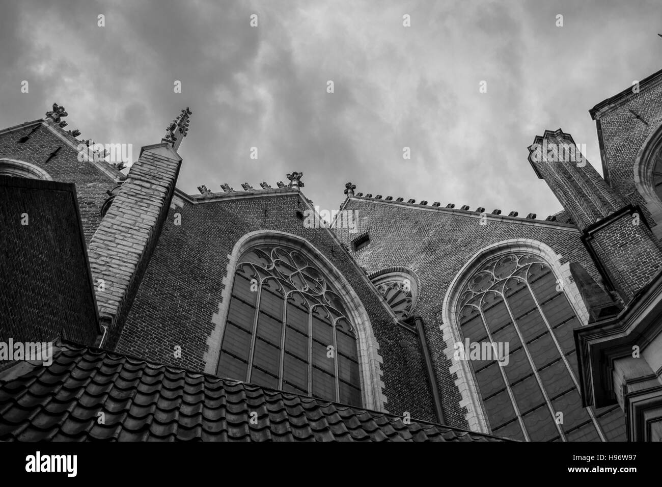 Gothic Windows And Architectural Details On A Church In Amsterdam Black White With Dramatic Sky