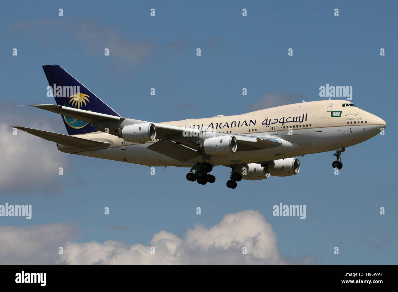 Zurich, Switzerland - July 29, 2016: Saudia Arabian, Boeing 747SP is landing at Zurich Airport - Stock Image