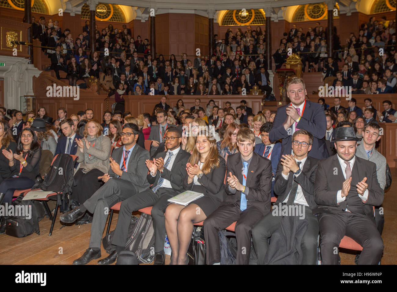 Students attending the closing awards ceremony of OxIMUN in the Sheldonian Theatre ini Oxford. From a series of Stock Photo