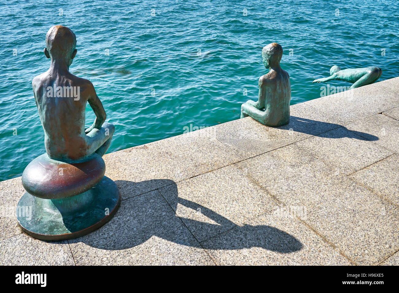 Los Raqueros sculpture, Santander, Cantabria, Spain - Stock Image