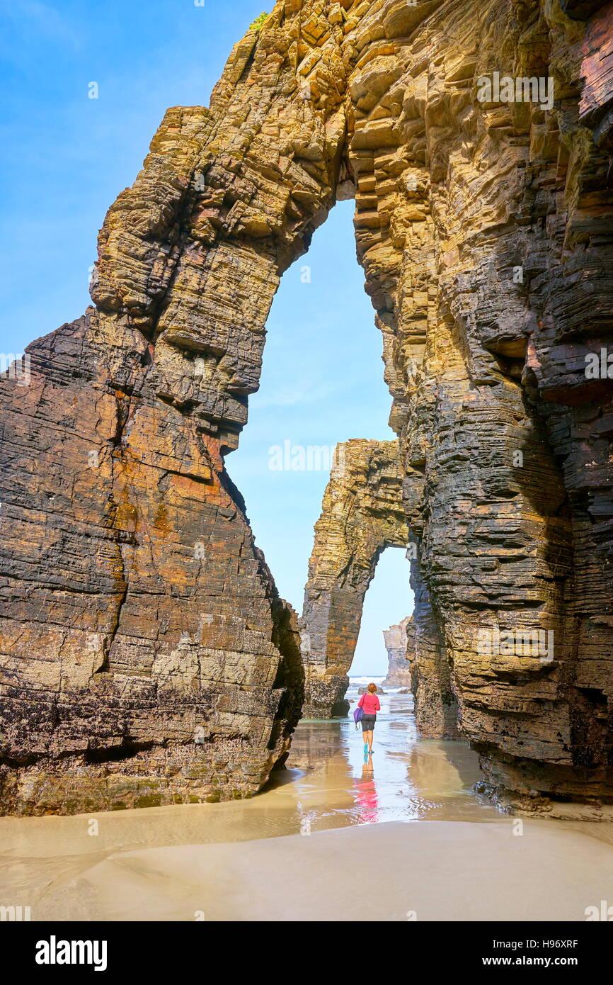 Cathedrals Beach, Praia As Catedrais, Ribadeo, Spain - Stock Image
