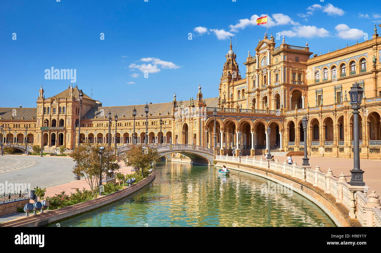 Plaza de Espana - Seville, Andalusia, Spain - Stock Image