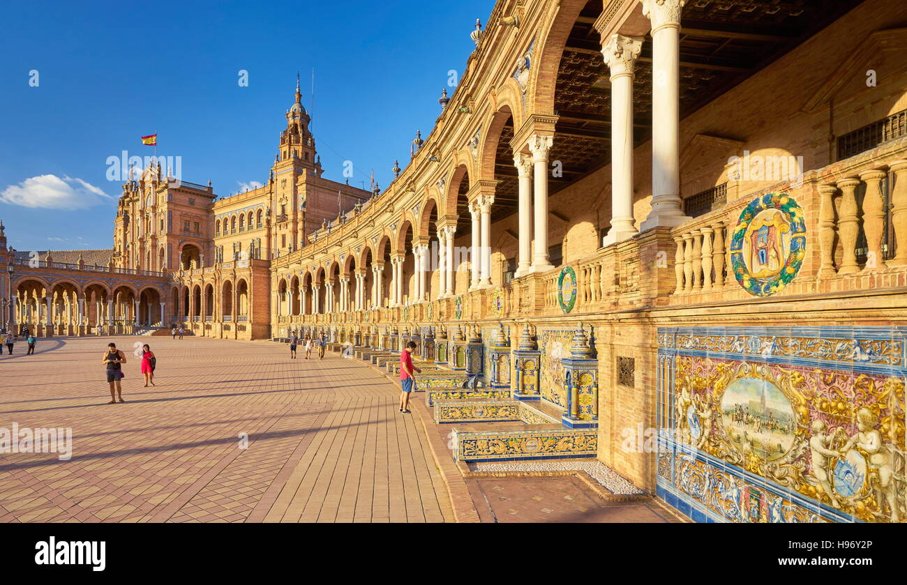 Seville - Plaza de Espana, Andalusia, Spain - Stock Image