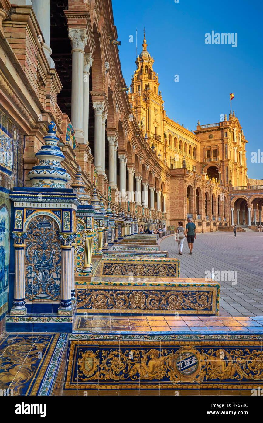 Seville, Plaza de Espana, Andalusia, Spain - Stock Image