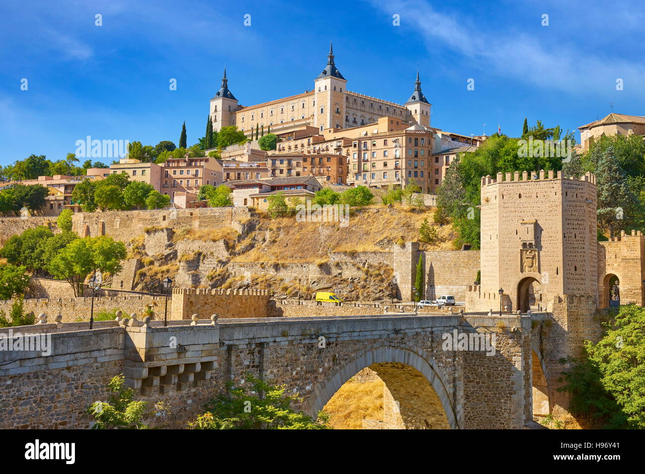 Toledo old town, San Martin Bridge, Spain - Stock Image