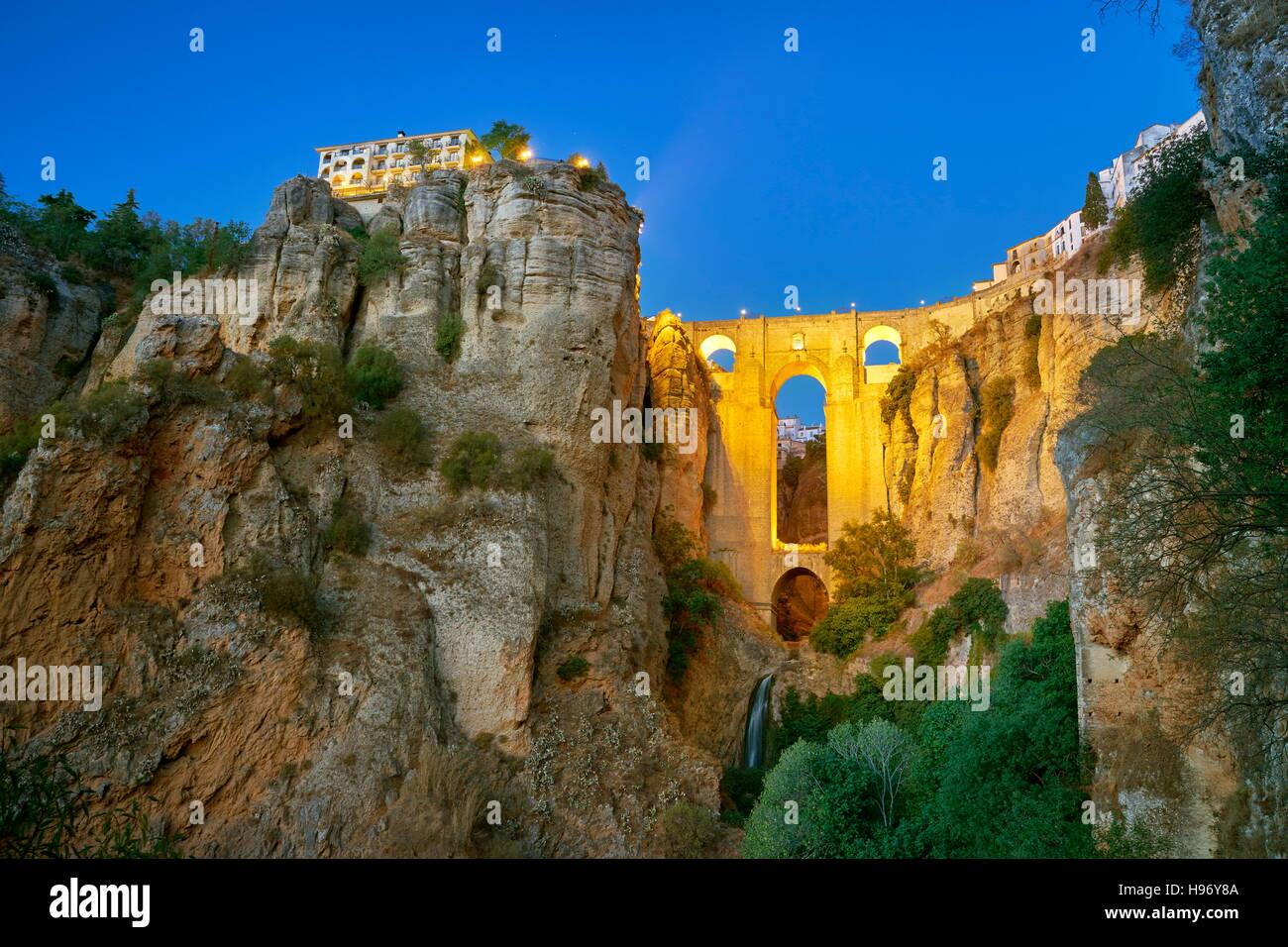 Ronda - El Tajo Gorge Canyon, Puente Nuevo Bridge, Andalusia, Spain - Stock Image