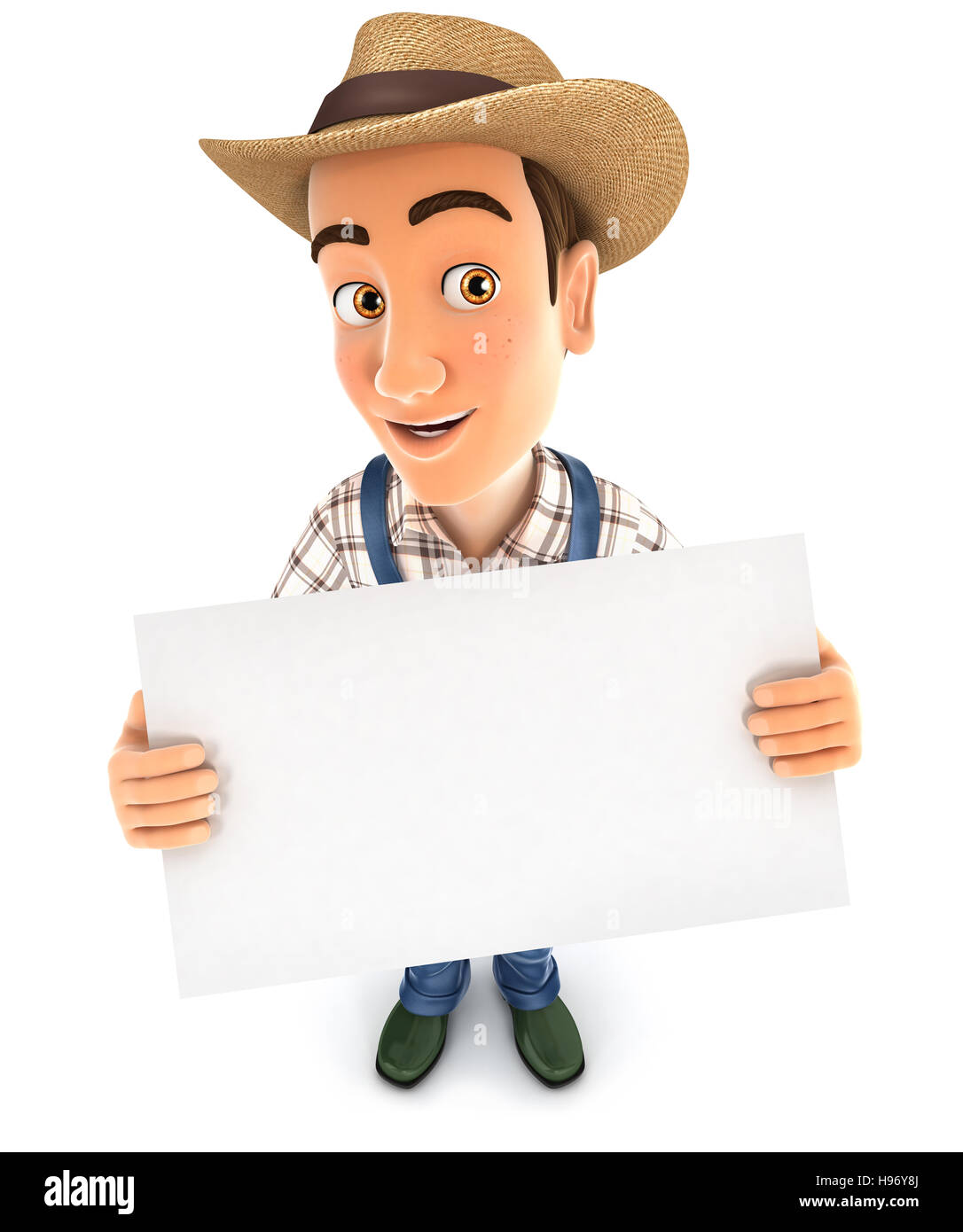 3d farmer holding a billboard, illustration with isolated white background Stock Photo