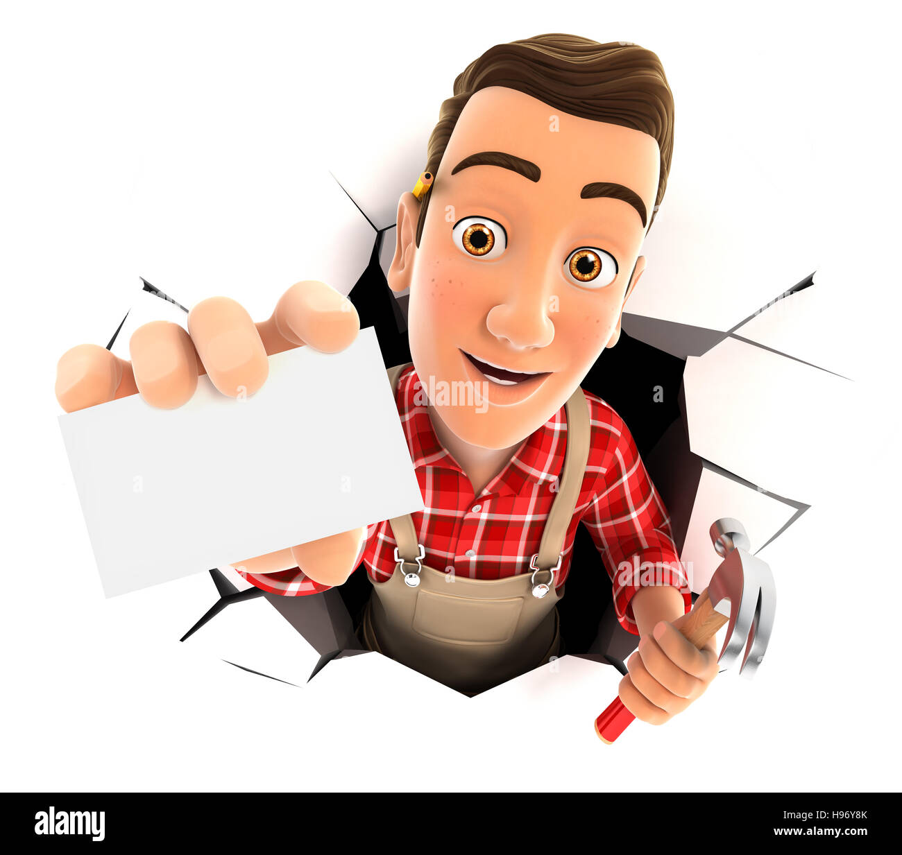 3d handyman coming out through a wall with company card, illustration with isolated white background Stock Photo