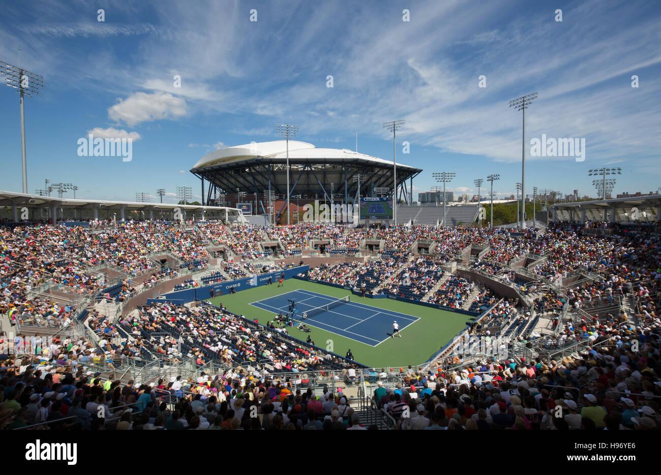 New Grandstand Stadium and Arthur Ashe Stadium, US Open Championships 2016 - Stock Image