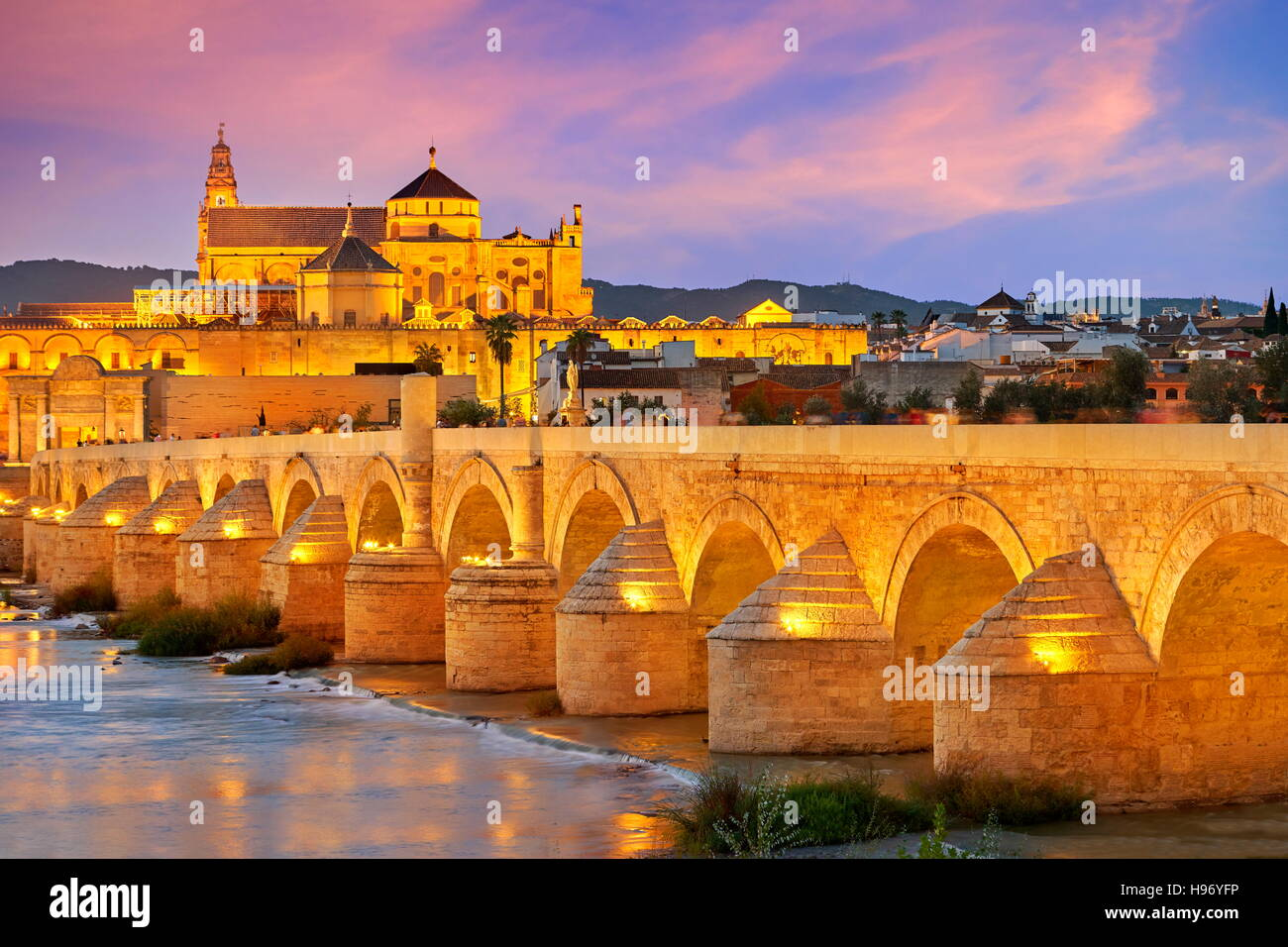 Spain - Roman Bridge and Cordoba Mosque, Andalusia, Cordoba - Stock Image