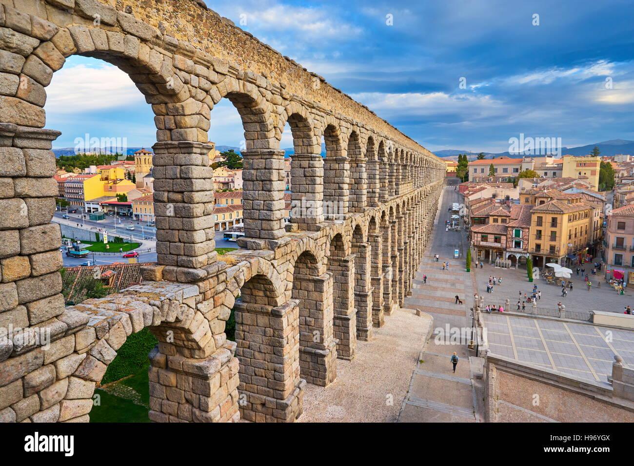 Roman aqueduct bridge, Segovia, Spain, UNESCO - Stock Image