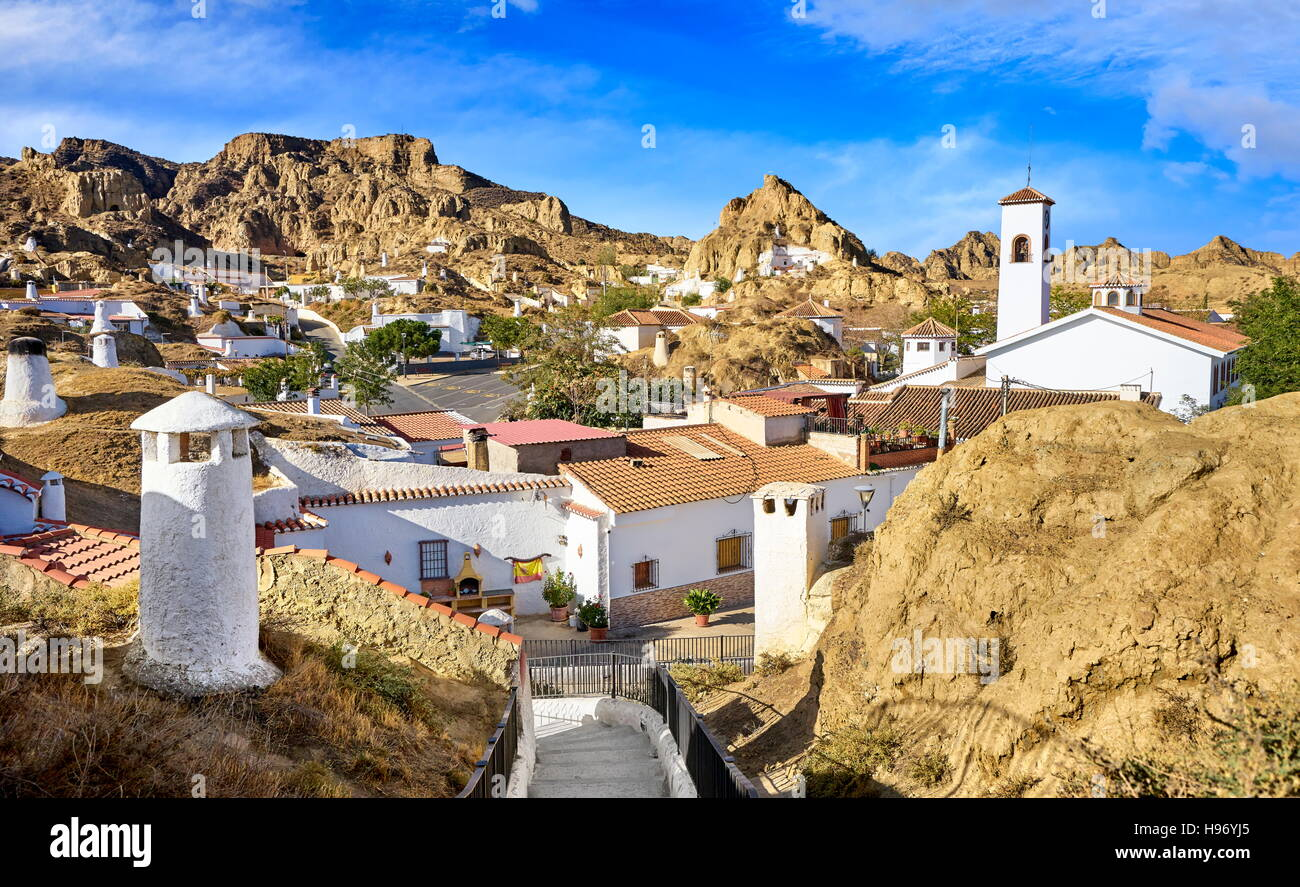 Spain - Troglodyte cave dwellings, undergroung houses, Guadix, Andalucia - Stock Image