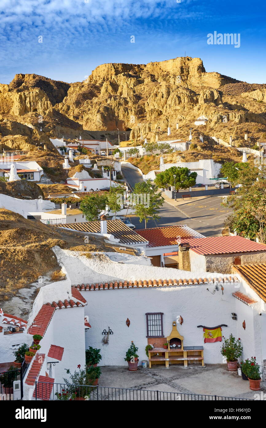 Landscape view of Troglodyte cave dwellings, Guadix, Andalucia, Spain - Stock Image