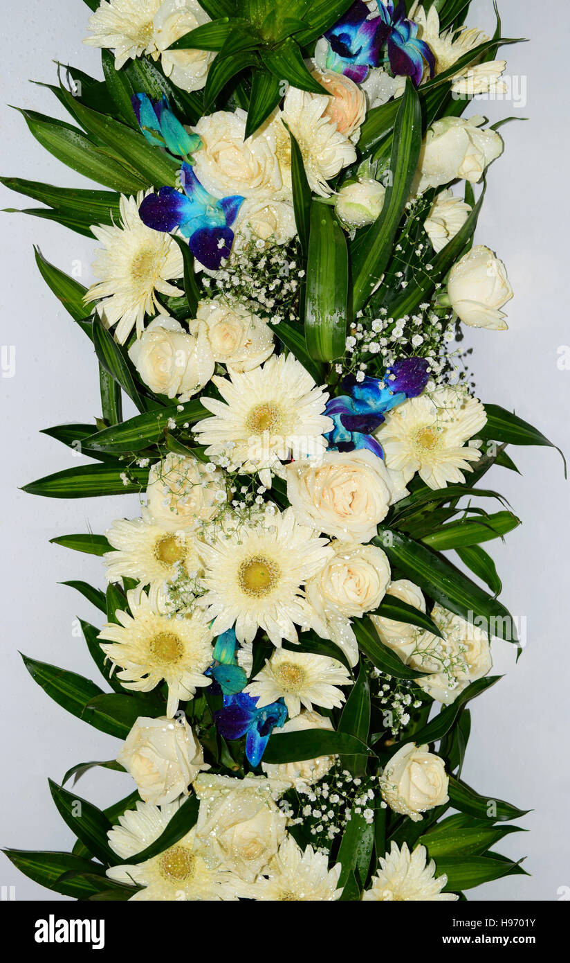 Colorful flower arrangement With lot of White Violet flowers and ...