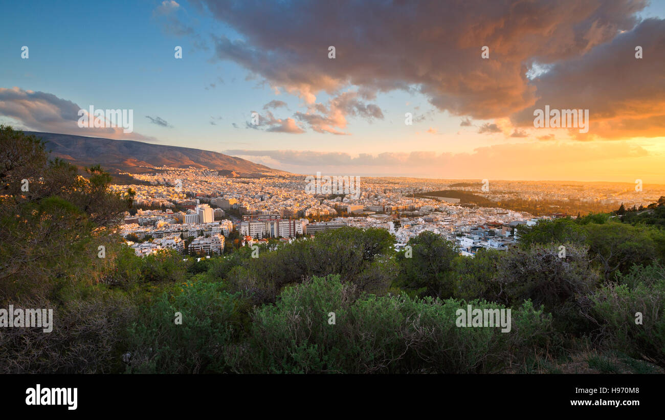 View of Athens from Lycabettus Hill, Greece. - Stock Image