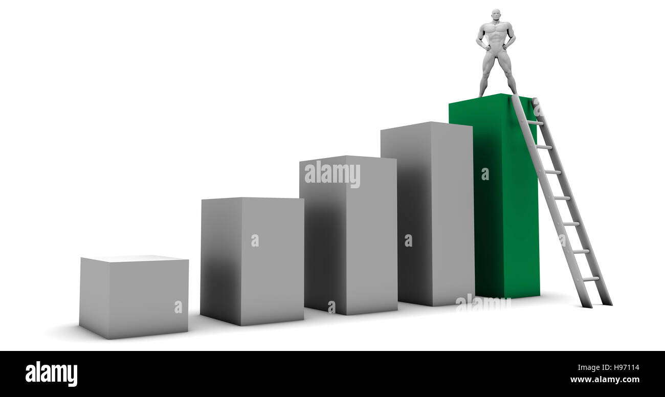Man Climbing Up Ladder To the Top as a Business Concept - Stock Image