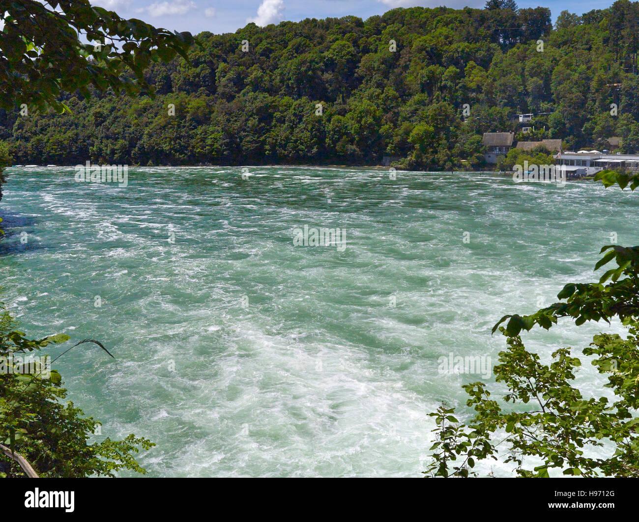 Rein waterfall in Switzerland, Schaffhausen - stormy waves - Stock Image