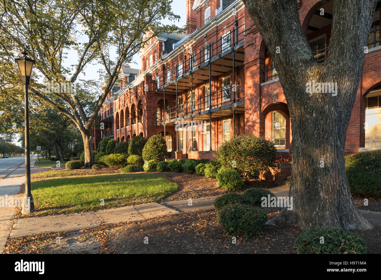 Sunset view of office block on Ingalls Rd, Civil War era Fort Monroe near Hampton Virginia, USA - Stock Image